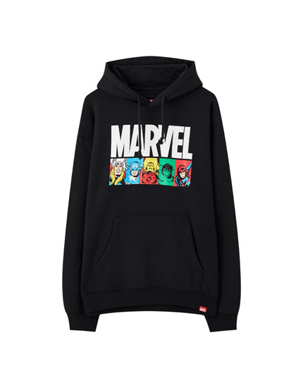 Hoodie with Marvel characters and logo