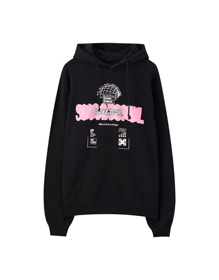 Sudadera negra texto successful