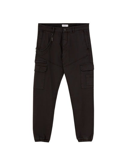Cargo chino trousers with chain
