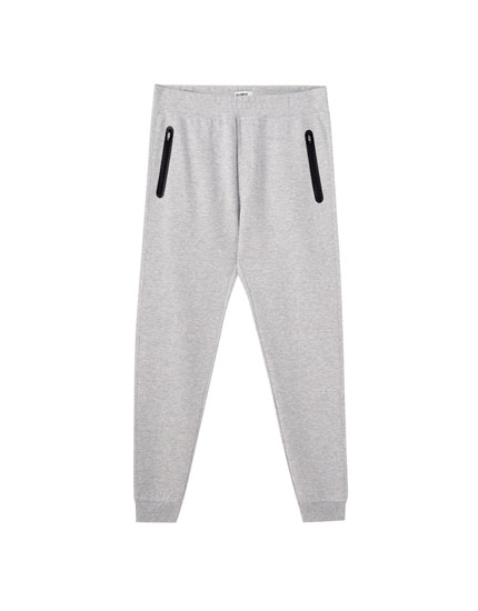 Basic jogging trousers with zip detail