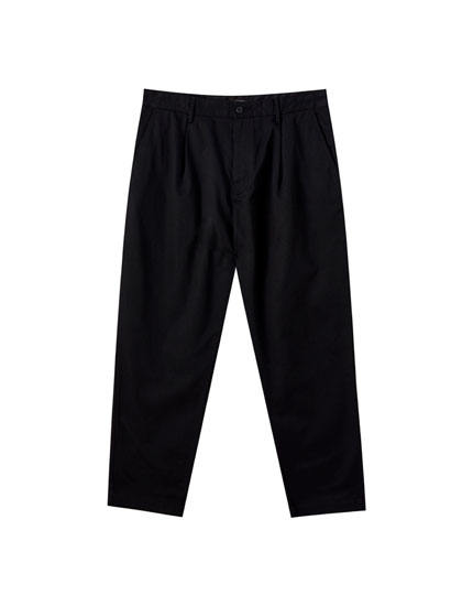 Wide fit darted chino trousers