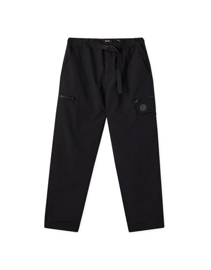 Black cargo trousers with logo