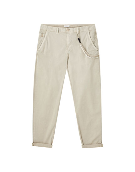Slim fit chino trousers with cord detail