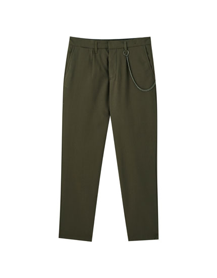 Basic tailored trousers with chain detail