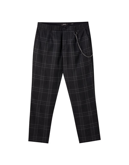 Dark grey check print tailored trousers