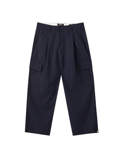 Blue cargo chino trousers