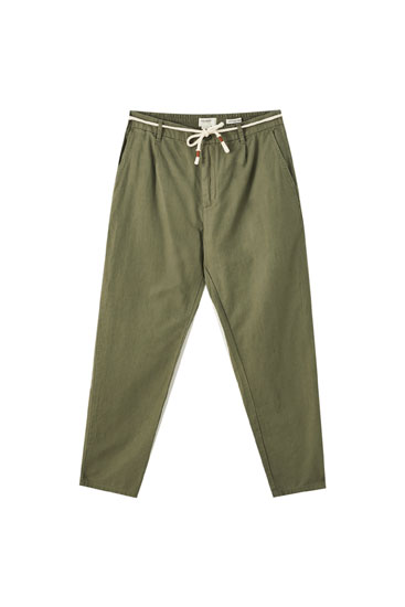 Linen chino-style beach trousers