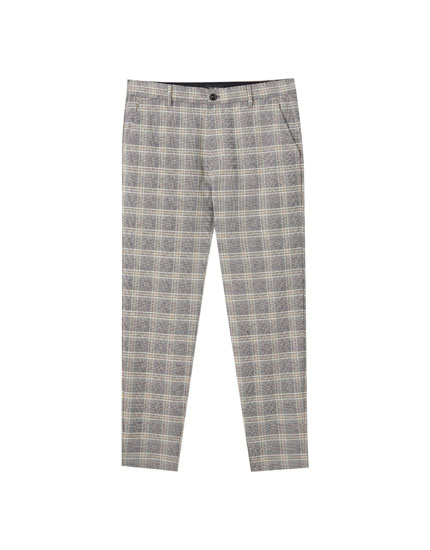 Beige checked tailored trousers