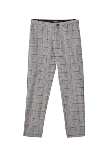 Grey check print tailored trousers