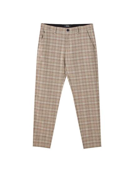 Pantalons tailoring quadres marrons