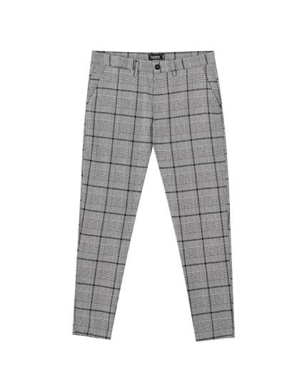 Παντελόνι tailoring fit με καρό σε χρωματική αντίθεση