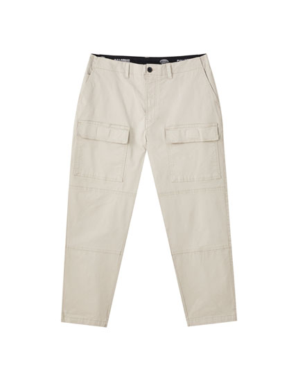 Sand-coloured cargo trousers with pockets