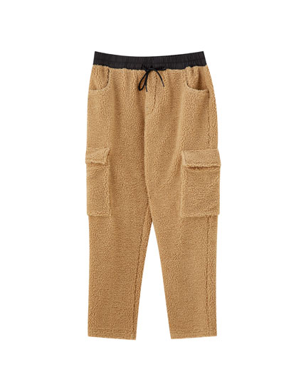 Faux shearling jogging trousers