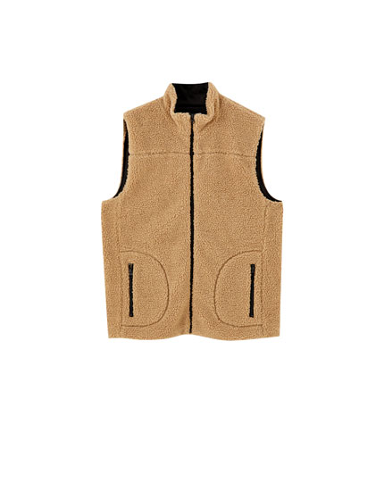 Contrast faux shearling gilet