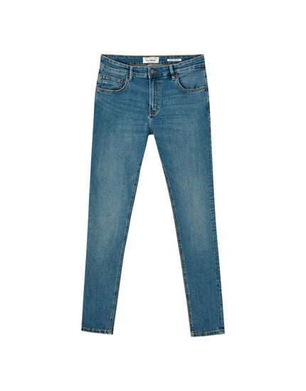 Greenish blue super skinny jeans