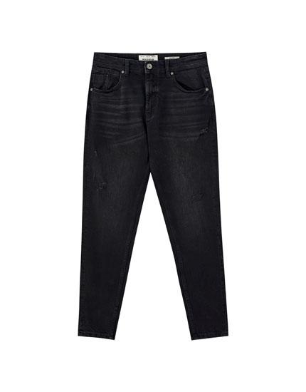 Μαύρο τζιν παντελόνι carrot fit