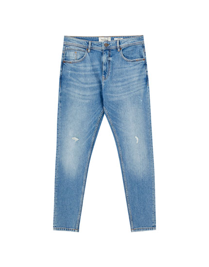 Jeans carrot fit bleu moyen