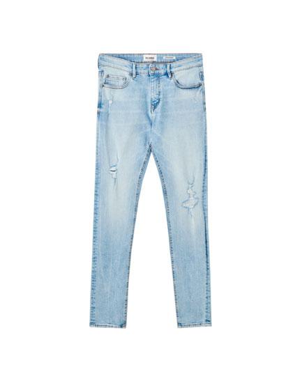 Hellblaue Superskinny-Fit-Jeans
