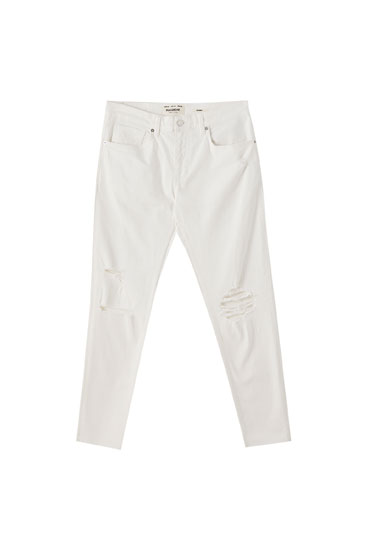Τζιν παντελόνι skinny premium με σκισίματα στον μηρό