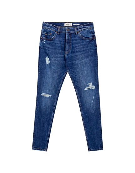 Blauwe carrot fit jeans