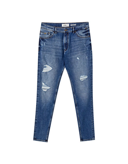 Jeans carrot fit azul medio