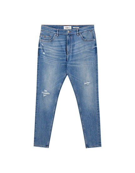 Jeans carrot fit azul claro