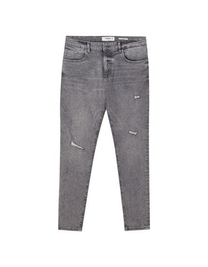 Серые джинсы скинни премиум-качества