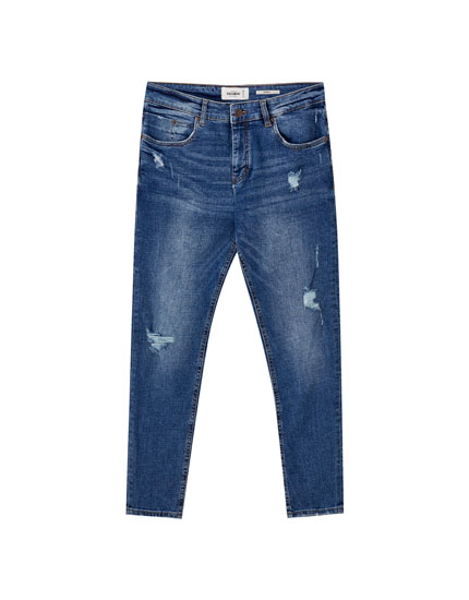 Premium medium blue skinny jeans
