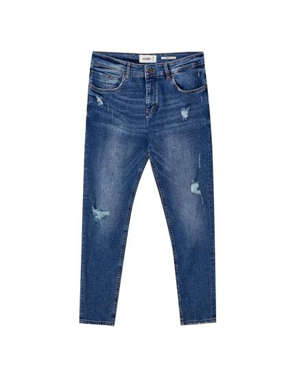 Jeans skinny lavado azul medio
