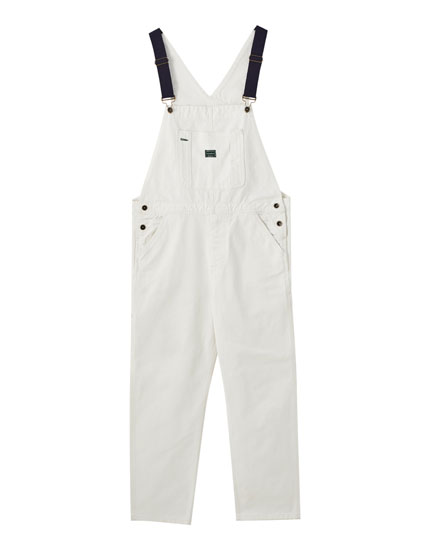 Long white '90s dungarees