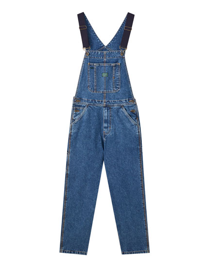 '90s long denim dungarees
