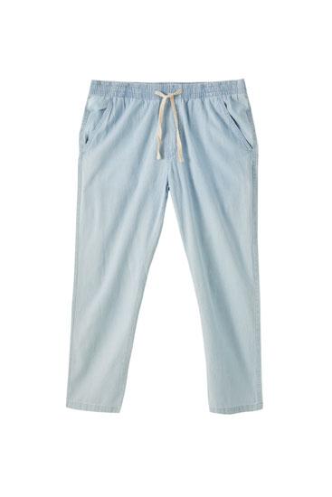 Τζιν παντελόνι beach tailored fit με κεντημένο λογότυπο