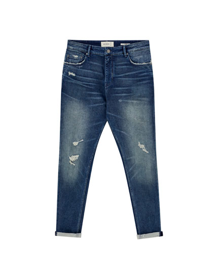 Dark wash carrot fit jeans
