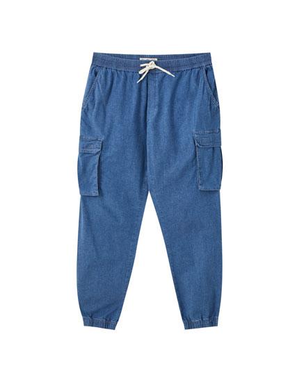 Denim cargo beach trousers