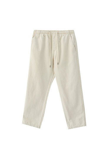 Beige cotton jogging trousers