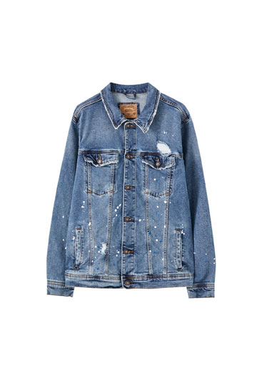 Ripped comfort fit denim jacket