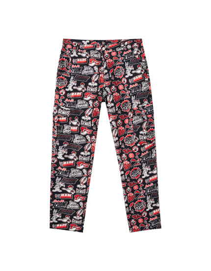 Looney Tunes print trousers