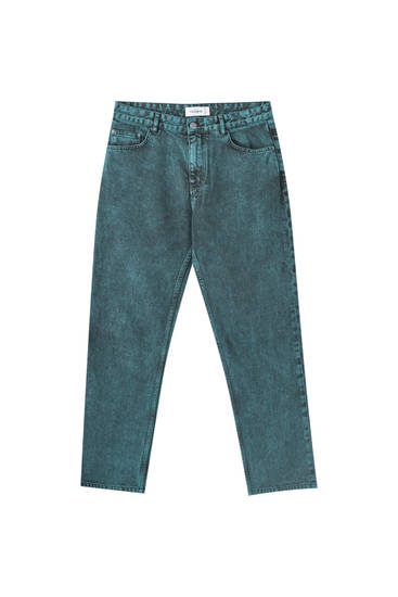 Green five-pocket jeans