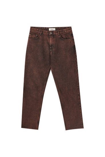 Red five-pocket jeans
