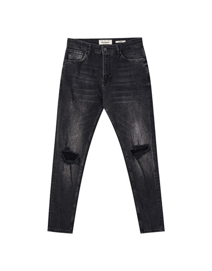 Faded black carrot fit jeans