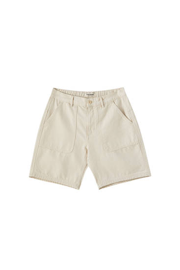 Beige Bermuda shorts with large pockets