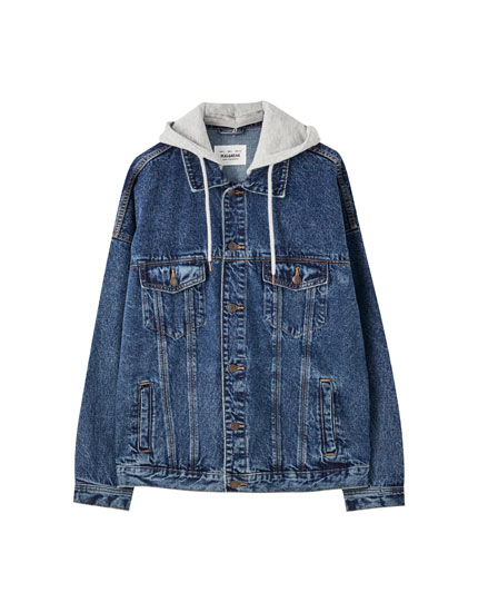 Denim jacket with contrast hood