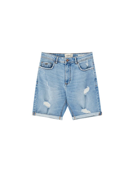 Basic ripped denim Bermuda shorts