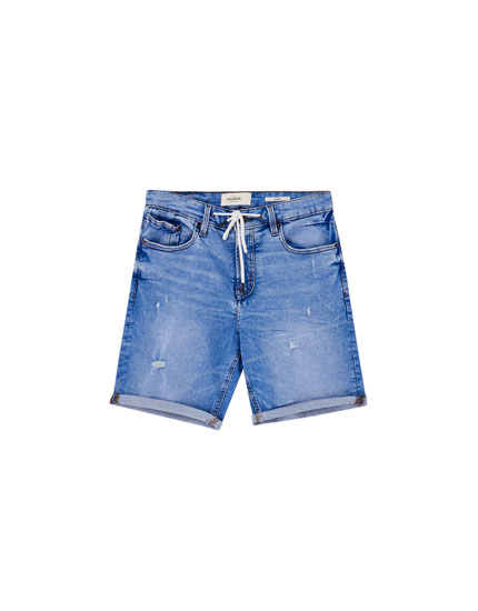 Skinny-fit denim Bermuda shorts