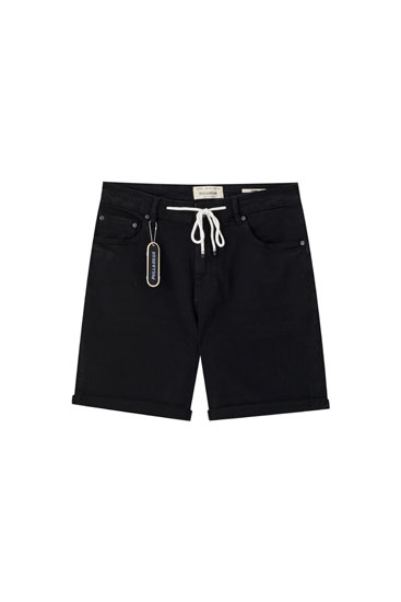 Black denim Bermuda shorts with drawstrings