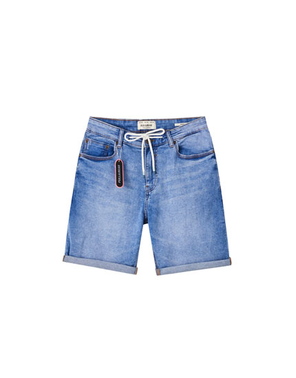 Contrast drawstring denim Bermuda shorts