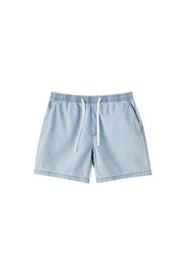 Denim Bermuda shorts with embroidered logo detail