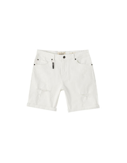 Ripped slim fit Bermuda shorts