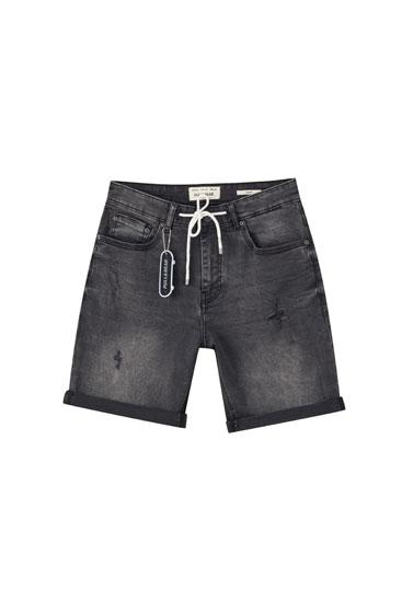 Denim Bermuda shorts with drawstring waistband