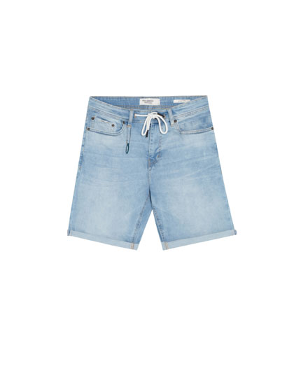 Light blue skinny denim Bermuda shorts